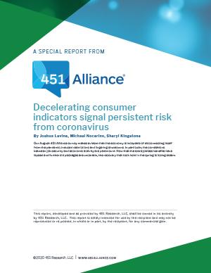 Decelerating consumer indicators signal persistent risk from coronavirus